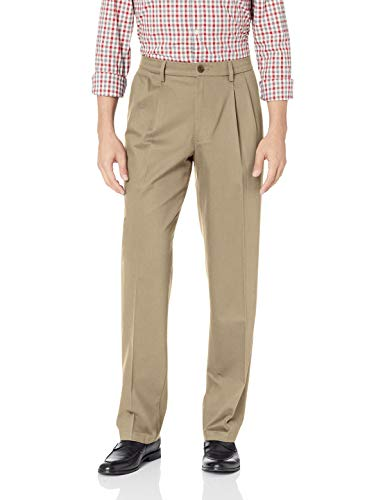 - Dockers Men's Classic Fit Signature Khaki Lux Cotton Stretch Pants-Pleated D3, timber wolf, 40W x 34L