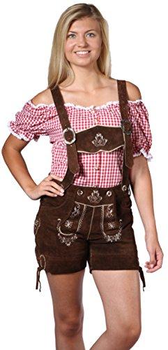 Damen Trachten Lederhose Damenhose mit Traegern aus feinstem Veloursleder in dunkelbraun, Bayrische Trachtenlederhose fuer das Oktoberfest Gr. 44