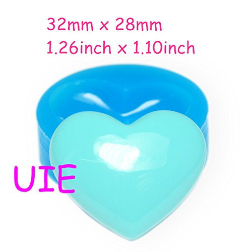 Polymer Clay Hearts (266LBP Heart Silicone Mold Fondant Cake Decorating Cupcake Topper 32mm - Bakeware Fimo Polymer Clay Mould, Jewelry Mould)