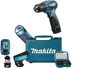 Makita DF330DWLX1 - Taladro atornillador inalámbrico (10,8 V, incluye lámpara con batería, caja de brocas, 2 baterías y cargador)