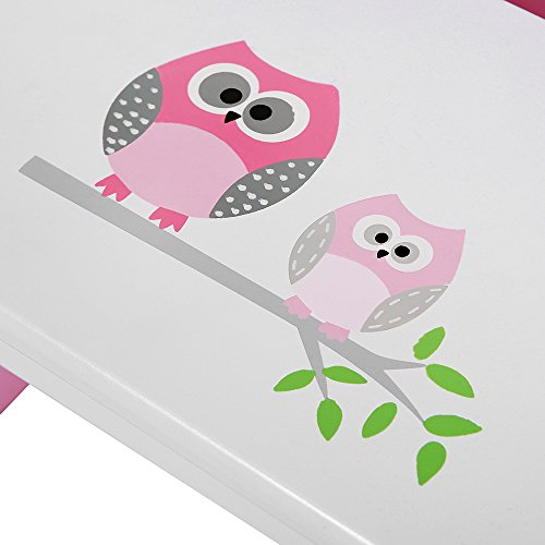 Songmics Children Step Stool Wood Bed Steps For Kids Owl Theme In Bathroom Closet Kitchen Toilet Pink And White Ulkf02pk Pricepulse