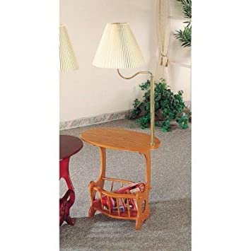 All New Item Oak Finish Wood Side Table With Magazine Rack And Built In Lamp
