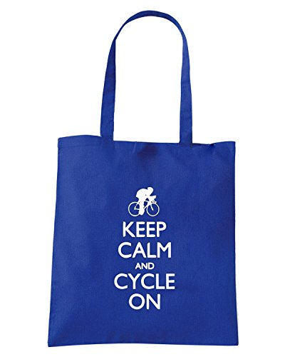 T-Shirtshock - Bolsa para la compra SP0091 Keep Calm and Cycle on Maglietta Azul Real