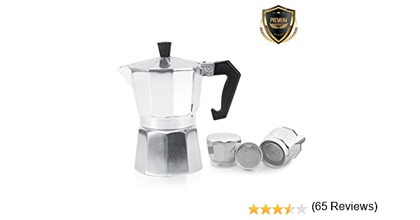 Cafetera italiana de aluminio, 3/6/9/12 tazas de café o moca, para café italiano expreso en casa, plata, 600ML 12tasses: Amazon.es: Hogar