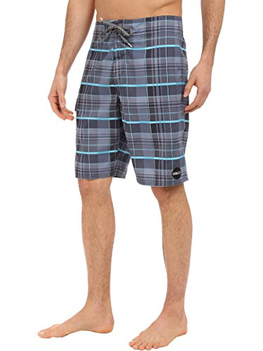 O'Neill Men's Santa Cruz Stripe Boardshort, Plaid Aqua - 33 - Embroidered Suede Boardshorts