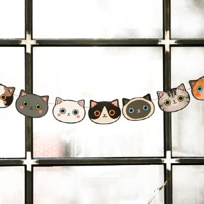 (&CABINET 10 Cats Garland - Cute 10 Cats Decorative Garland, Banner)