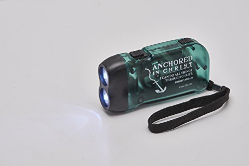 Christian Tools of Affirmation Anchored in Christ Green 4 x 3 Inch LED Hand Pump Miniature Flashlight