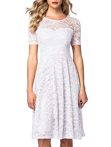AONOUR AR8006 Women's Vintage Floral Lace Elegant Cocktail Formal Swing Dress with Short Sleeve White S