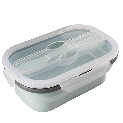 Tronet Picnic Bag Portable Food Cooler Container Storage Picnic Silicone Fold Lunch Box with Spoon