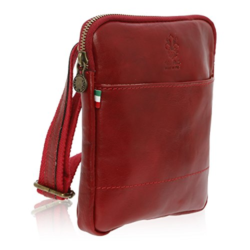 Bag Men's Genuine 16 Red Leather Florence In Shoulder 4 Cm 18 Made U5wx15COrq