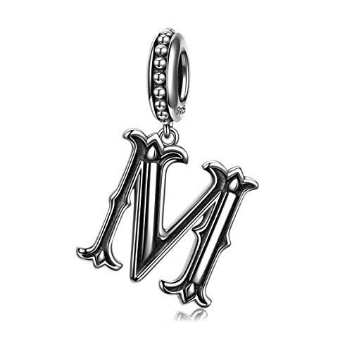 (NINAQUEEN Letter M Alphabet Charm 925 Sterling Silver Roman Style Dangle Charms Women Bracelet Birthday Anniversary Christmas Jewelry Gifts Her Teen Girls Wife Mom Daughter Niece)
