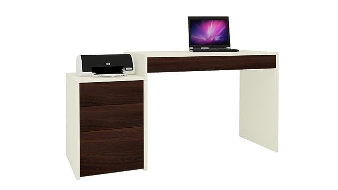 Adona Eskada Ivory Walnut Study Desk-cum-Printer Table w/Drawers