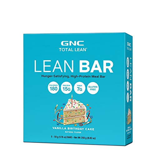 GNC Total Lean Lean Bar, Vanilla Birthday Cake, 5 Bars, Supports a Healthy Metabolism