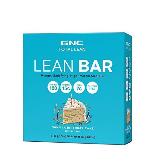 GNC Total Lean Lean Bar, Vanilla Birthday Cake, 5 Bars, Supports a Healthy Metabolism