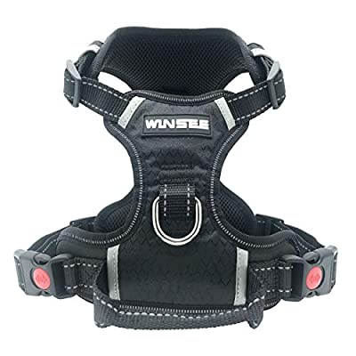 WINSEE Dog Harness, No-Pull Walking Pet Vest Harness with Handle and Front/Back Leash Attachments, Reflective Adjustable Oxford Material Easy Control Harness Black