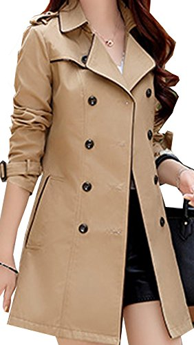 S&S Women's Double Breasted Belted Mid-length Contrast Lightweight Pea Coat