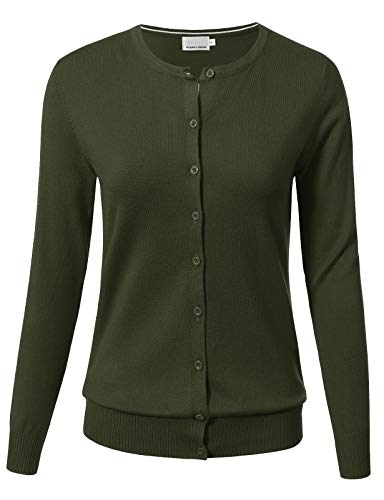 (ARC Studio Women Button Down Long Sleeve Crewneck Soft Knit Cardigan Sweater XL Olive)