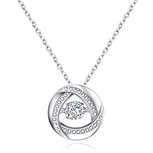 (DHMK Sterling Silver Dancing Diamond Round Spiral Swirl Pendant Necklace for Woman and Girls, Fashion Christmas Valentine's Day Jewelry Gifts)