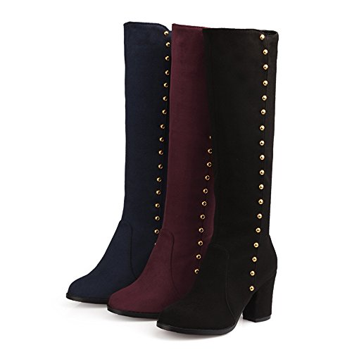 Fashion Heel Womens Chunky Heel Round Toe Rivets Above The Knee Boot Plus Size Burgundy 5pOfNDAtrT