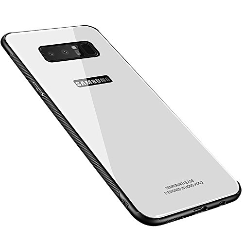 Galaxy Note 8 Case, HONTECH Silicone Shockproof Tempered Glass Mirror Back Bumper Cover for Galaxy Note8 (White)