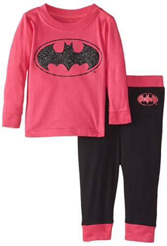 DC Comics Infant 'Batman Batgirl Glitter Logo' Cotton Costume Pajama Set, Fuchsia, (Infant Girl Batman Costume)