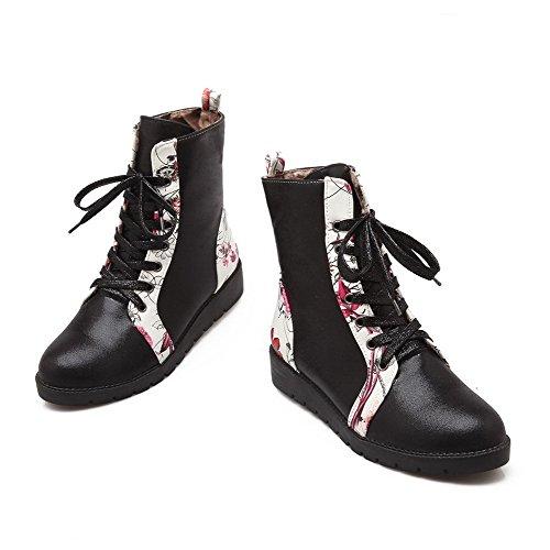 Allhqfashion Dames Lace-up Lage Hakken Pu Assortiment Kleur Low-top Laarzen Zwart