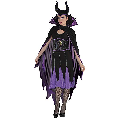 Suit Yourself Sleeping Beauty Maleficent Cape for Adults, One Size, Black with Metallic Purple and a Stand-Up Collar -