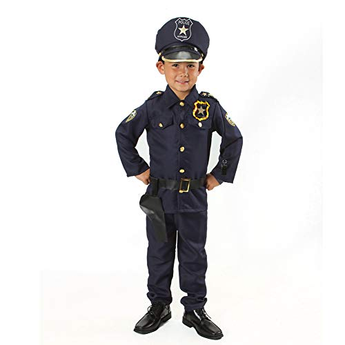 Monika Fashion world Police Officer Costume Set Kids Light up Badge on Shoulder T S M 3 4 5 6 7 'M 5-7'