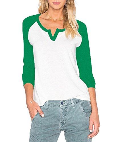 Sarin Mathews Women's Casual V Neck Loose Fit Long Sleeve T-Shirt Blouse Tops GrassGreen XL