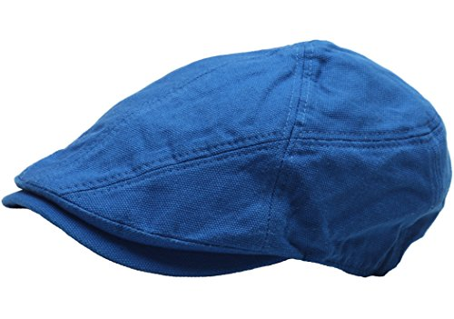 Raon N250 Cotton Wrinkles Basic Style Newsboy Cap Cabbie Flat Golf Gatsby Driving Hat (Blue)
