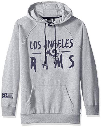 Ultra Game Women's NFL Fleece Hoodie Pullover Sweatshirt Tie Neck, Los Angeles Rams, Heather Gray, Large