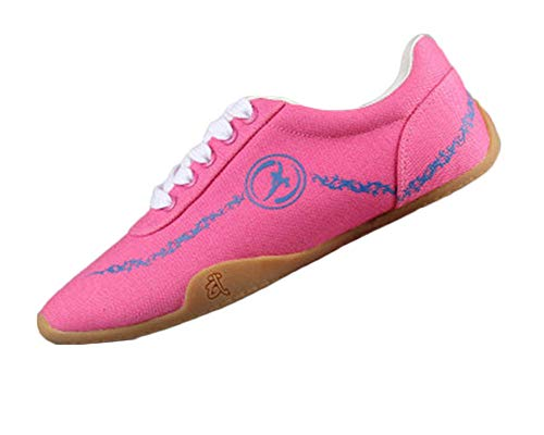 Unisex Adults Breathable Comfort Chinese Tai-Chi Wu Shu Kung Fu Shoes Basic Style for Daily Training Morning Exercises Pink 44