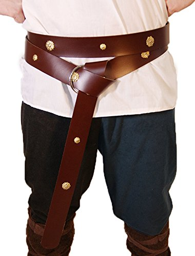 [Medieval-LARP-Reenactment-Viking-Battle Ready BRASS DECORATED BROWN LEATHER WRAP AROUND TRADITIONAL MEDIEVAL BELT 1.5