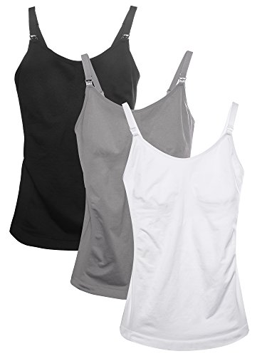HOFISH Women Cami Top/Nursing Sleepwear Pyjamas Adjsutable Straps Grey,Black.White ()