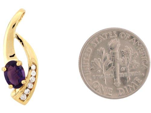14ct Or Jaune Unique Design Pendentif Femme 2.4cm Améthyste Et Diamant