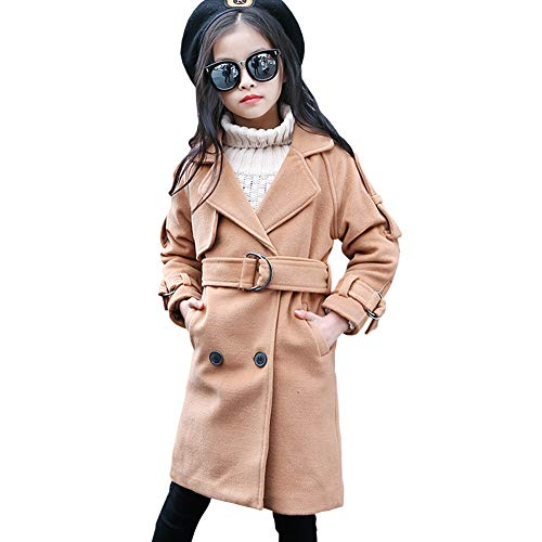 (M&A Girl's Double Breasted Pea Coat with Belt Wool Blend Trench Coat)