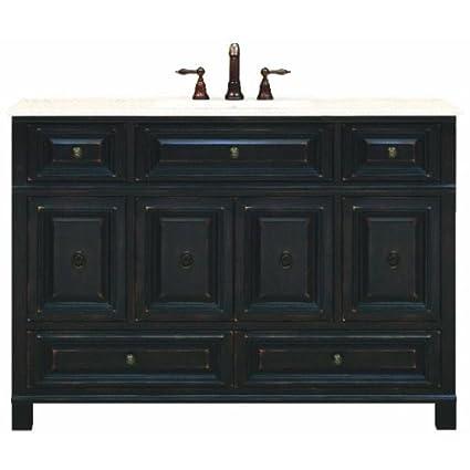 "Sunny Wood BH4821D Barton Hill 48"" Wood Vanity Cabinet Only, Antique  Black - Sunny Wood BH4821D Barton Hill 48"