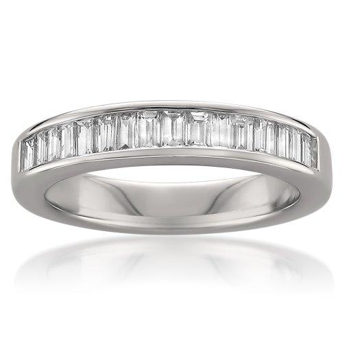 14k White Gold Baguette Diamond Bridal Wedding Band Ring (3/4 cttw, H-I, SI1-SI2), Size 6