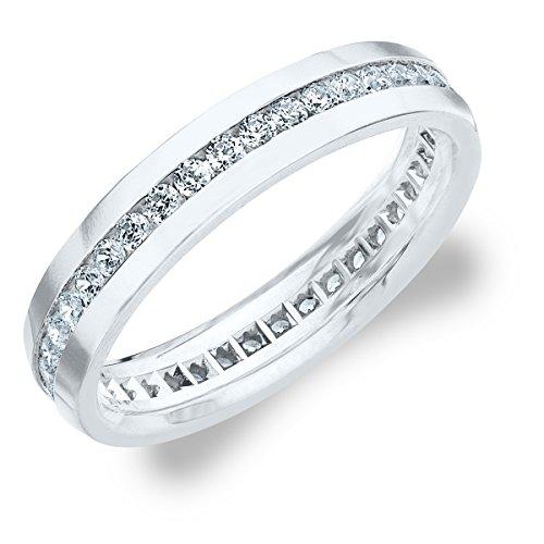 1.0 CTTW Men's Eternity Ring in 10K White Gold, Stunning Mens Diamond Ring Size 8.5 (Vintage Mens Diamond Rings)