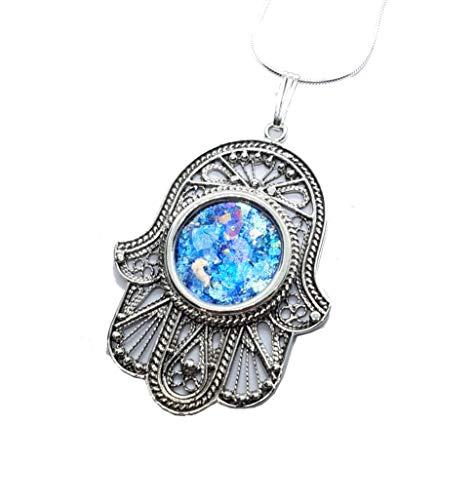 - 925 Silver Roman Glass Yemenite Filigree Hamsa Pendant