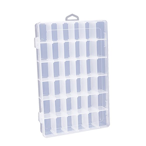 Clear Jewelry Box - Plastic Bead Storage Container, Earrings Storage Organizer with Adjustable Dividers, 36 Grids, 10.75 x 1.7 x 7 (Rhinestone Plastic Bracelets)