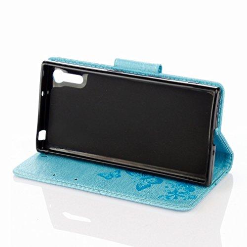 Yiizy Sony Xperia XZ F8332 Custodia Cover, Farfalla Fiore Design Sottile Flip Portafoglio PU Pelle Cuoio Copertura Shell Case Slot Schede Cavalletto Stile Libro Bumper Protettivo Borsa (Blu)