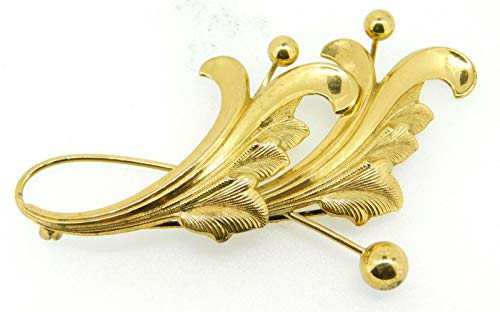 Vermeil Forstner Gilt Sterling Leaf Brooch (#J4261) ()