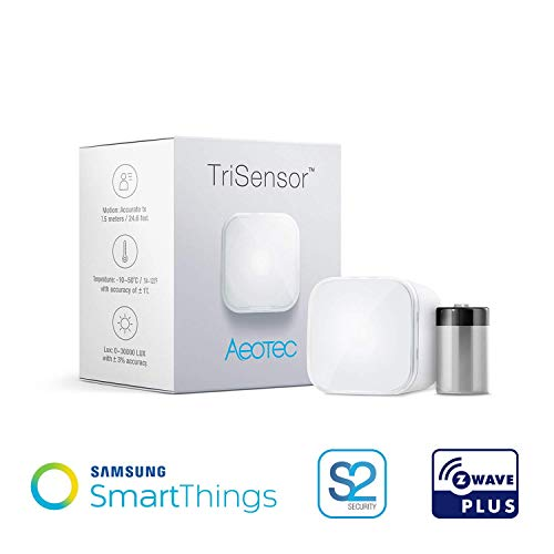 Aeotec TriSensor, Z-Wave Plus S2 Motion, Temperature, Light Sensor, 3-in 1 Home Automation Security System, Battery Powered (Renewed)