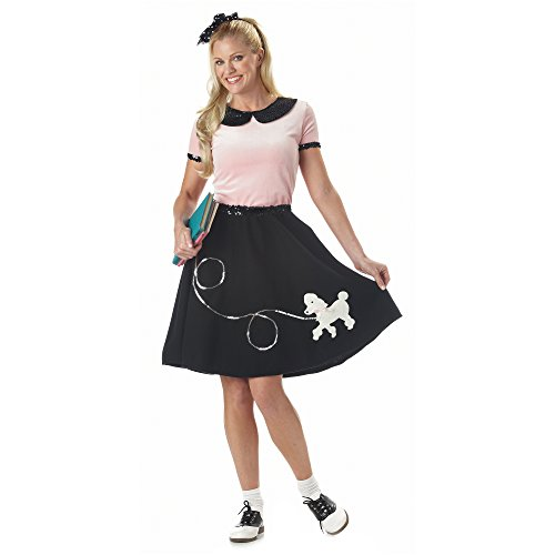 50s Hop with Poodle Skirt Costume for (Satin Poodle Dress Adult Costumes)