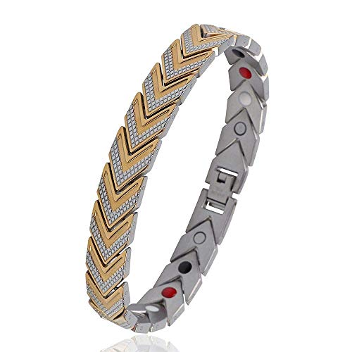 (iZion Mens Magnetic Therapy Bracelet Premium Stainless Steel Arrow Link Pain Relief for Arthritis and Carpal Tunnel (Gold, 8.7
