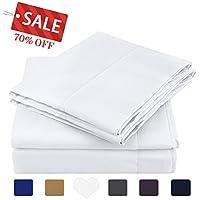 HOMEIDEAS 4 Piece Bed Sheet Set (Queen,White) 100%...