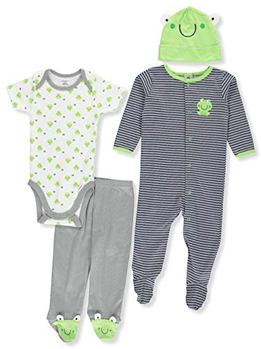 Gerber Baby Boy 4 Piece Sleep 'n Play, Onesies, Footed Pant and Cap Set, frog, Newborn ()