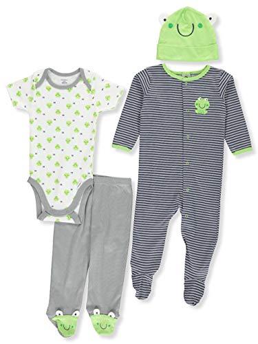 Gerber Baby Boy 4 Piece Sleep n Play, Onesies, Footed Pant and Cap Set, frog, 0-3 Months