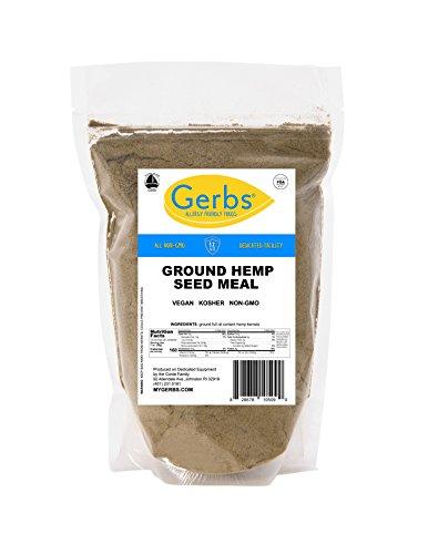 Ground Hemp Seed Meal, 1 LB Bag - Food Allergy Safe & Non GMO -Vegan & Kosher - Full Oil Content Protein Powdr